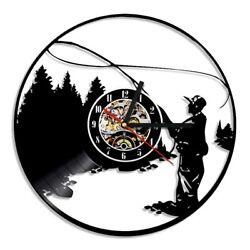 Fishing Wall Clock Modern Design CD Clocks Vintage Style 3D Vinyl Wall Watch