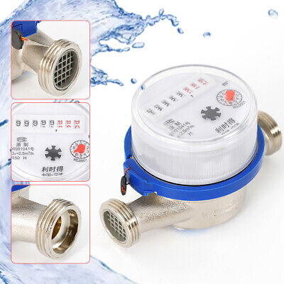 15mm 12 Single Flow Measure Cold Water Meter 360 Rotary Counter Garden Home