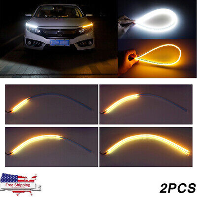 Sequential 60cm LED Headlight Slim Strip Lights DRL Running Flow Turn Signal 2Pc