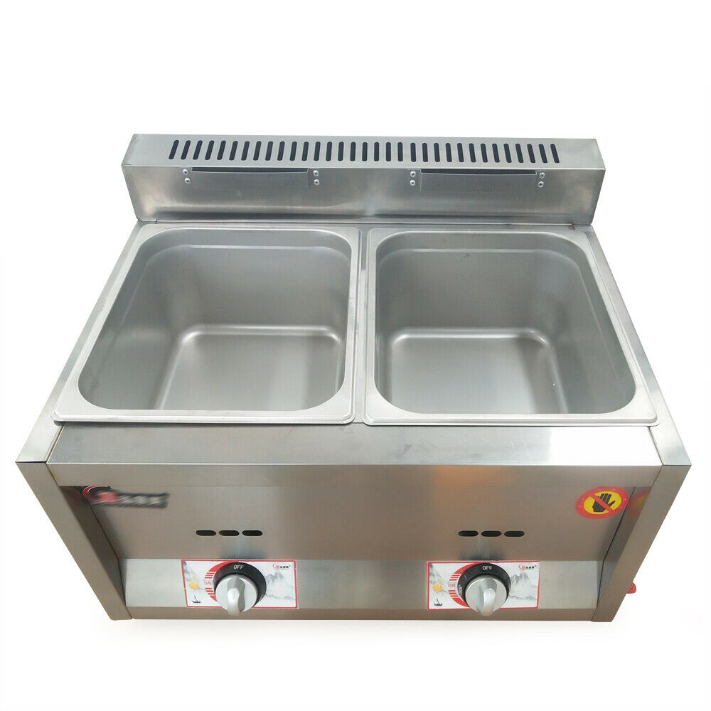 6L*3 Pan Commercial Natural Gas Fryer Steam Table Food Warmer Kitchen Steamer US