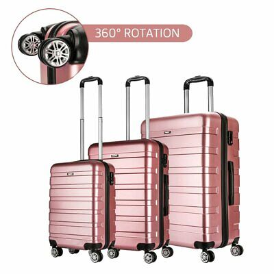 Rose Gold Lightweight Hard Shell 4 Wheel Spinner Travel Trolley Luggage Suitcase