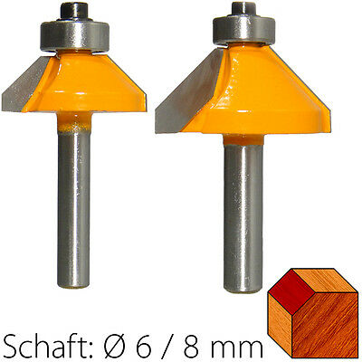 HM Fasefräser mit Anlaufkugellager 45° Schaft 6/8 mm D 26,6/35,5 mm Fasenfräser