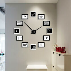 12 MULTI Frame Photo DIY Wall Clock Nordic Modern Design Metal&Wood Clock DIY US