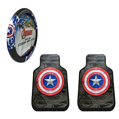 New Captain America Car Truck Front Floor Mats & Steering Wheel Cover Set