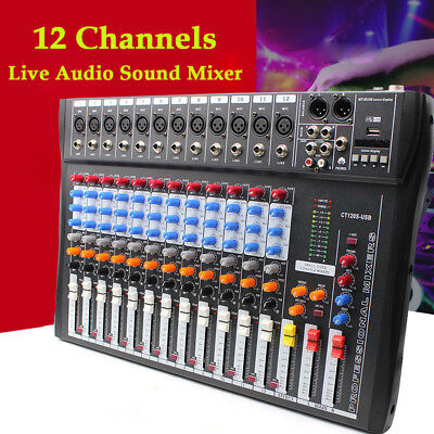 NEW 12 Channel Live Studio Stereo Audio Mixer Sound Mixing DJ USB Console 48V US
