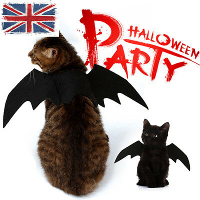 UK NEW Pets Dog Cat Black Bat Wings Cosplay Wings Costume Party Halloween Decor (Pet Halloween Costumes Uk)