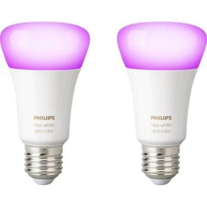 PHILIPS HUE WHITE & COLOUR A19 **BULBS ONLY 2 BRAND NEW**