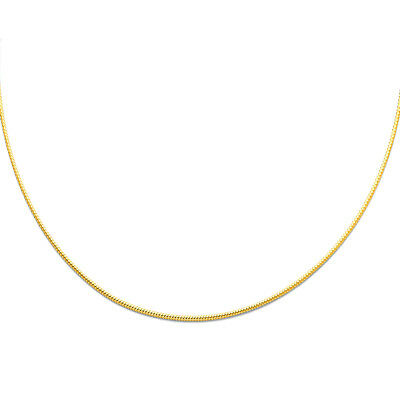 Real 14k Yellow Gold 1MM Sparkle Omega Necklace Chain 17
