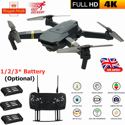 UK Foldable RC Drone Quadcopter With HD 4K Camera WIFI Quadcopter Altitude Hold