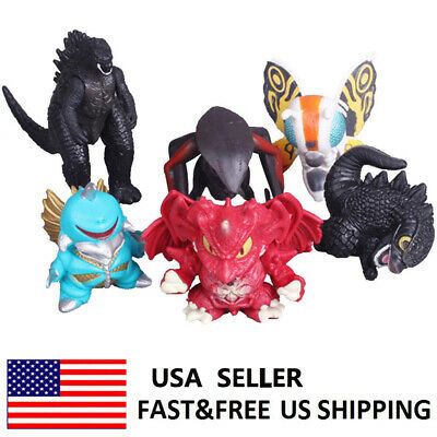 Godzilla Monsters Q Version Movie Action Figure Cake Topper Toys Xmas Gift 6 PCS