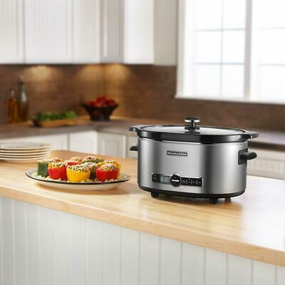 6 qt. stainless steel slow cooker with glass lid and built-in timer | kitchenaid