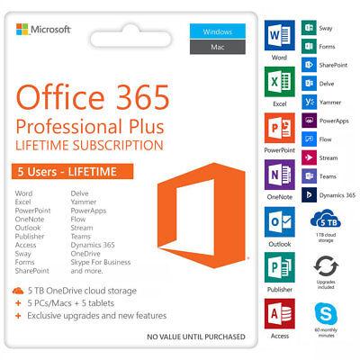 Microsoft Office 365 Lifetime Account 5 Devices 5Tb Storage Windows  Mac  Mobile