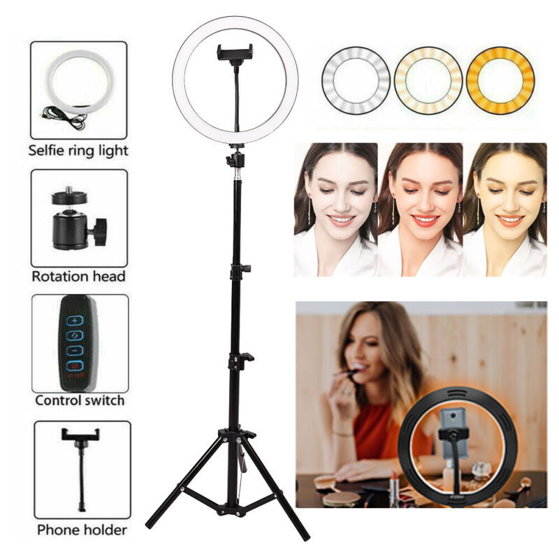 """10"""" LED Selfie Ring Light With Tripod Phone Holder Stand For Makeup Live Stream"""