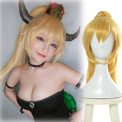 Princess Bowser Bowser Peach Bowsette Cosplay Wigs Blonde Long Ponytail Wigs](Blonde Ponytail Wig)