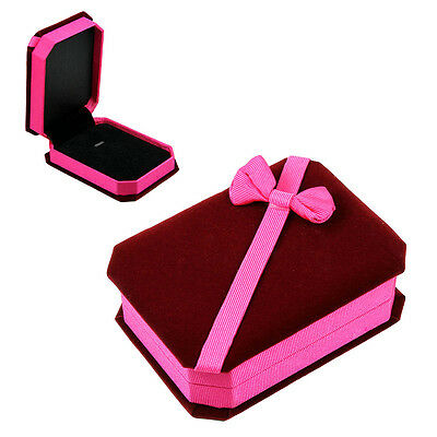 Deluxe Velvet Pendant Necklace Jewelry Gift Box Burgundy Pink With Satin Bow