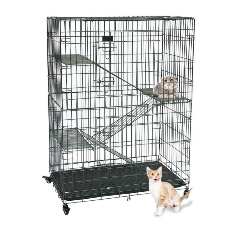 Folding Collapsible Pet Cat Wire Cage Indoor Outdoor Playpen Vacation 3 ladder