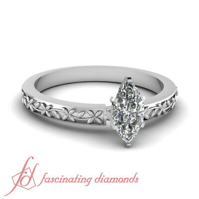.70 Ct Marquise Cut Diamond Solitaire Floral Design Engagement Ring E-Color GIA