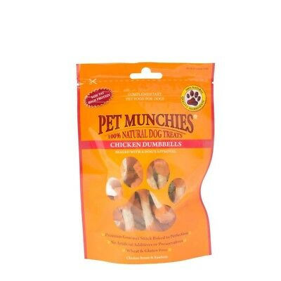 Pet Munchies Dog Treats Chicken Dumbbells 80g - Natural 100 Rawhide Food x Real