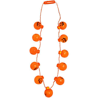 Halloween Pumpkin Light Up 11 LED 1.5 Inch Necklace gift shining