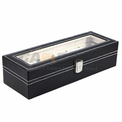 6 Slot Watch Box Leather Display Case Organizer Top Glass Jewelry Storage Black