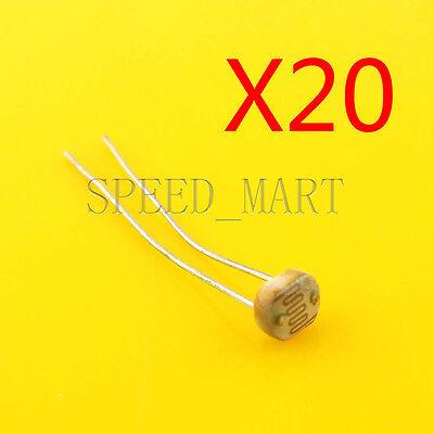 20 Pcs Photoresistor Ldr Cds 5mm Light-dependent Resistor Sensor Gl5528 Arduino