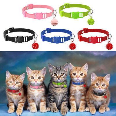5pcs/lot Suede Puppy Dog Kitten Breakaway Safety Cat Collars Bell Quick Release ()
