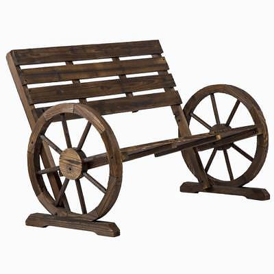 Garden Furniture - New Wooden Wagon Wheel Bench Garden Loveseat Rustic Outdoor Park Furniture