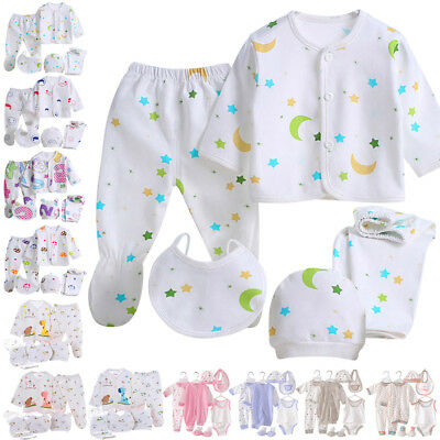 8pcs Newborn Baby Boy Girl Cartoon T-shirt Tops Pants Outfits Set Clothes 0-3M