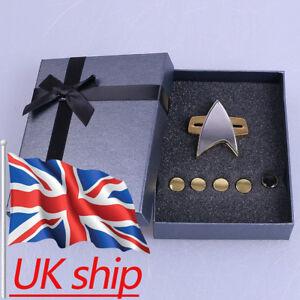New Star Trek Badge Voyager Communicator Pin Brooch and Rank Pips Prop Set Of 6