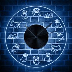 Pug Mute Wall Clock Cartoon Pugs LED Neon Sign Lighting Acrylic Silent Watch