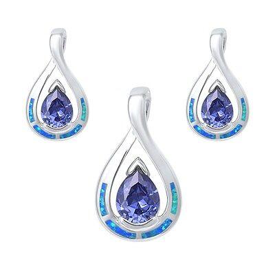 - Pear Shape Tanzanite & Blue Opal Earrings & Pendant Set .925 Sterling Silver Ear