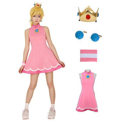 Mario Tennis Princess Peach Cosplay Costume Outfit Party Girl Dress](Princess Peach Dress)