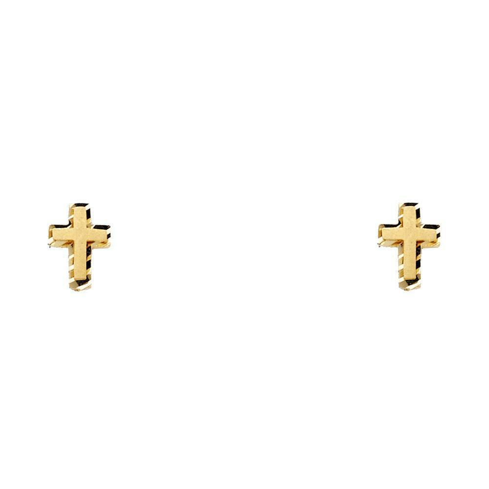 Genuine 14k Yellow Gold - Small Flat Diamond Cut Cross Stud