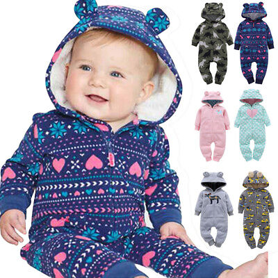 Infant Baby Boys Girls Thick Fleece Print Hooded Romper Jumpsuit Outfit Clothes - Thick Girl Outfits