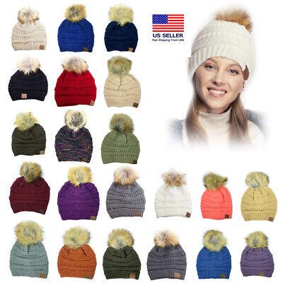 C.C  Stretch Cable Knit Ribbed Super Soft Faux Fur Pom Pom Beanie Hat cc Rib Knit Hat