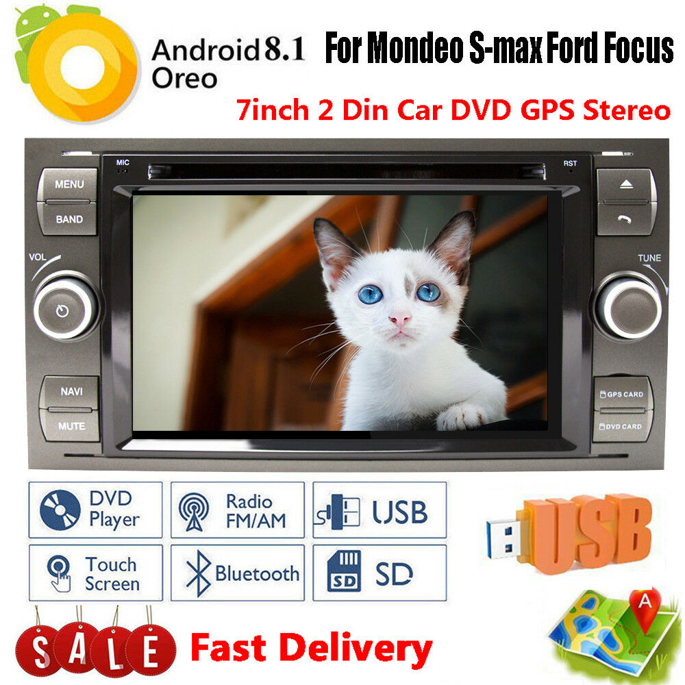 Android 9.1 2 DIN Car DVD GPS Stereo 7'' HD Screen FM Radio For S-max Ford Focus