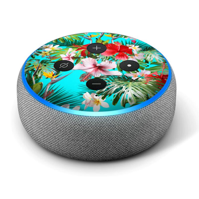 Vinyl Decal Skin for Amazon Echo Dot 3rd Gen - Tropical Red Hibiscus