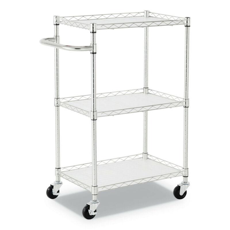Alera SW322416SR 24 in. x 16 in. x 39 in. 3-Shelf Wire Cart w/ Liners Silver New