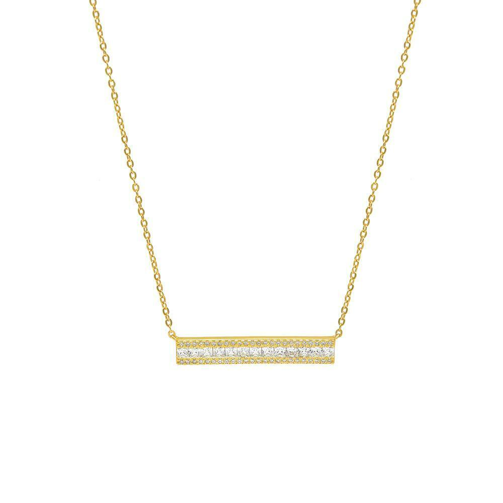 14k Yellow Gold Over Women Baguette & Round Diamond Square Bar Pendant Necklace