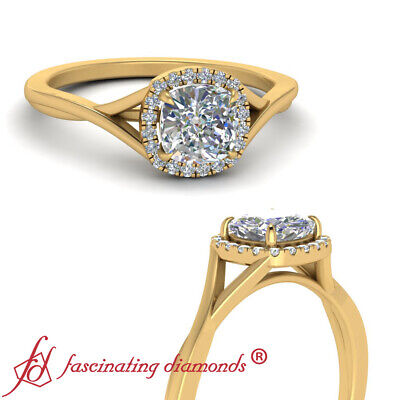 One Carat Cushion Cut Diamond Twisted Shank Halo Engagement Ring In Yellow Gold
