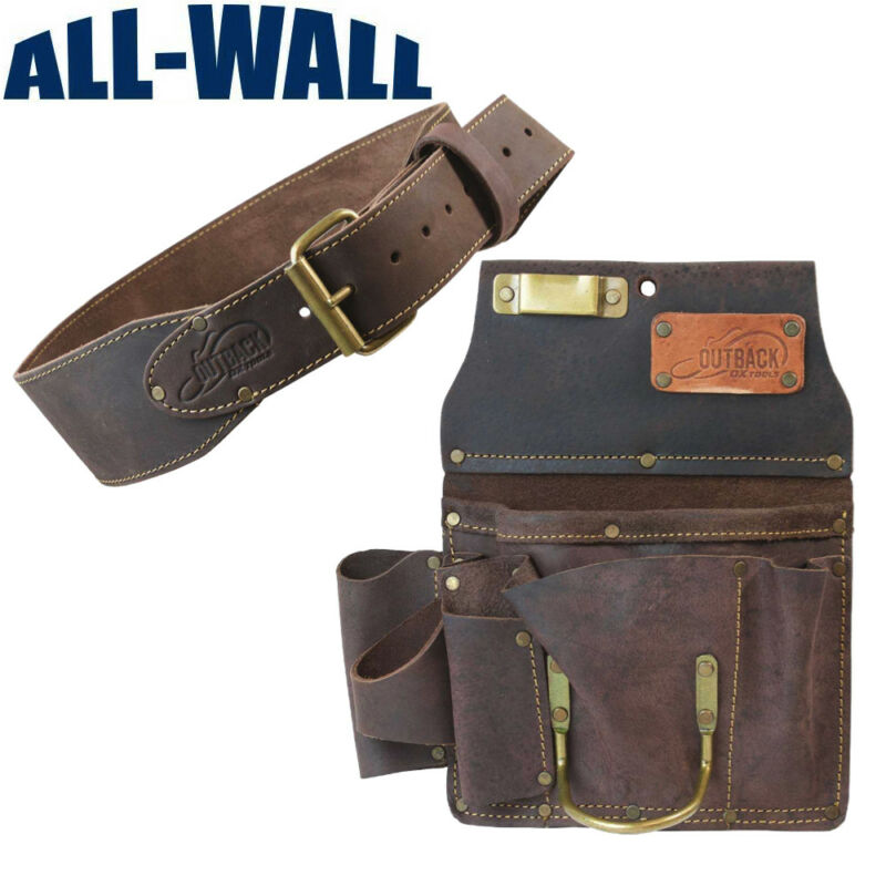 """Ox Pro 12-Pocket Drywall Tool Pouch and 3"""" Belt - Heavy Duty Top Grain Leather"""