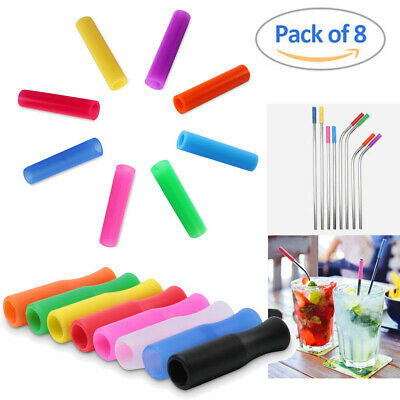 8x Straw Tip Cover Silicone Straws Cover for 6MM Stainless Steel Drinking Straw Silicone Tip Covers