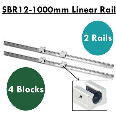 2x Sbr12-1000mm Linear Rail Slide Shaft Guide Rod 4x Sbr12uu Blocks Cnc Diy