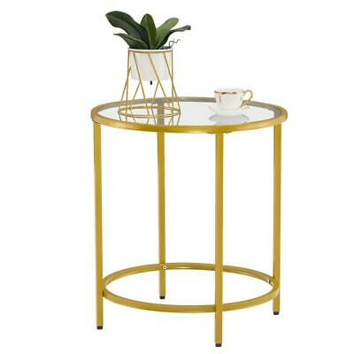 Modern Style Small Round Coffee Table w/ Gold Metal Frame Living Room Furniture