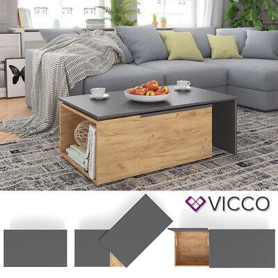 VICCO Couchtisch LEO 60x100cm Anthrazit Sandeiche Wohnzimmertisch Beistelltisch  ()