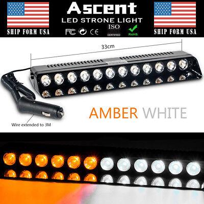 12 LED Emergency Warning Strobe Light Flash Dash Lighting AMBER WHITE NEW
