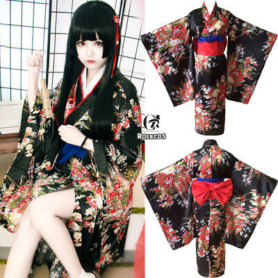 Neu Hell Girl Jigoku Shoujo Enma Ai Furisod - Kimono Girl Kostüm