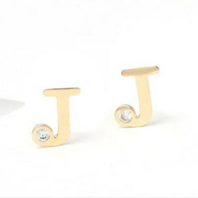 TPD Solid 14K Yellow Gold Initials J Stud a Pair of Earrings w/ Silicone plugs