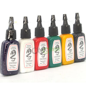 New Tattoo Supply Ink Pigment 6 Color 1/2 oz 15ml Ship From USA