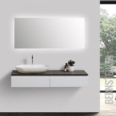 Badmöbel Vision 120 cm Weiß Spiegel Aufsatzwaschbecken Unterschrank Waschtisch